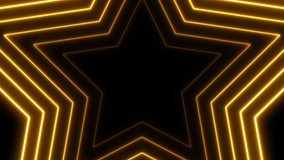 Abstract background with neon stars animation. Glamour video template for fashion event. Seamless loop.