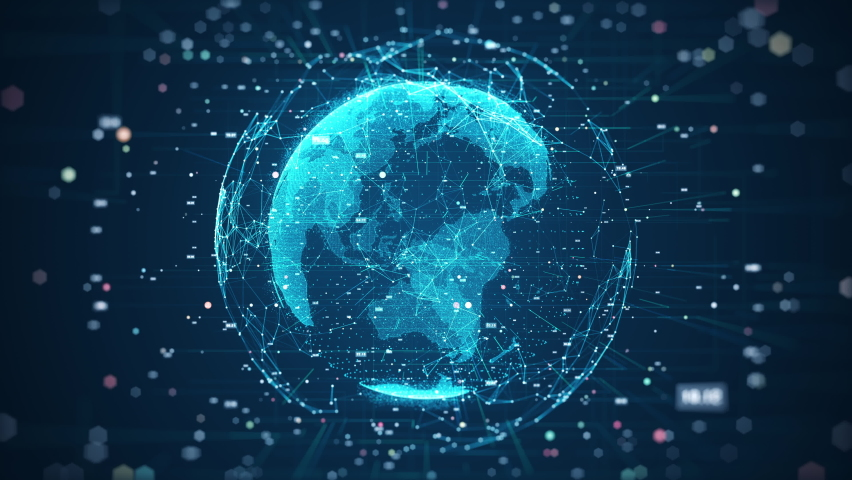 Global network connection and data connections concept. Communication technology global world network. Digital Data network technology With social network icons surrounded for worldwide connections. | Shutterstock HD Video #1058586025
