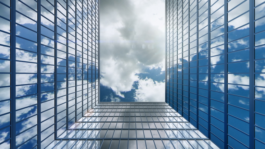 Up view between high rise office skyscrapers. Business concept of office buildings with offices of financial and insurance companies. It is a success to rent real estate in such place, loop animation.   Shutterstock HD Video #1058597995