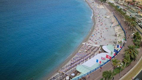 Nice, France - August 18, 2020: 8K Beautiful Aerial View Of Nice City, Mediterranean Sea And The Promenade Des Anglais On The French Riviera, France, Europe - 8K UHD (7680 x 4320)