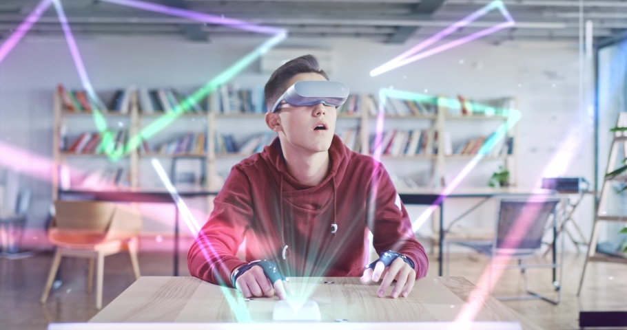 Education VR Technology Future Virtual Learning Student Using 3D Visualization Online School Modern Online Digital Classroom Personalized Learning Concept Slow Motion 8k Royalty-Free Stock Footage #1058606908