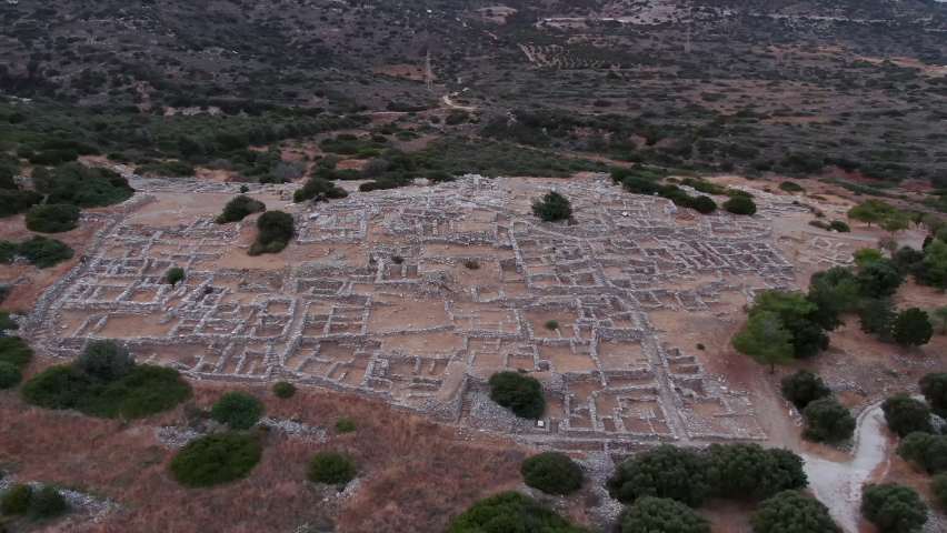Archaeological site in Greece on the island of Crete from drone, aerial video