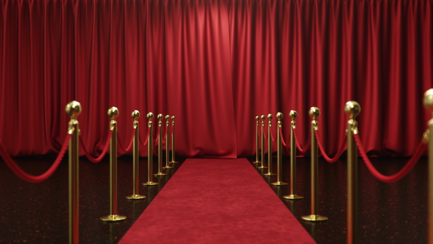 3D animation with alpha chanel, open and close luxure red silk, curtain decoration design. Red Stage Curtain for theater or opera scene backdrop. Mockup for your design project, Red velvet carpet Royalty-Free Stock Footage #1058610106