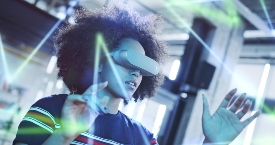 Future VR Education Technology Young Black Woman Using Virtual Reality Headset Gaming And Entertainment New Technologies Diversity Concept Slow Motion 8k RED | Shutterstock HD Video #1058612914