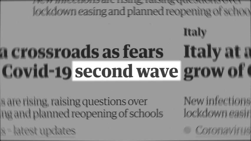 'Second Wave' text highlighted among random words, similar to newspaper articles across the globe. Coronavirus  (COVID-19) new wave concept. Royalty-Free Stock Footage #1058614081