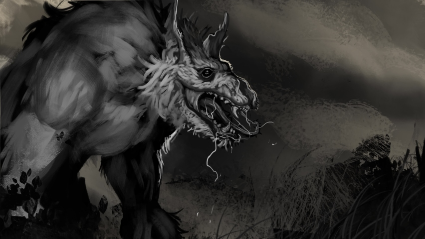 Animated painting of a frightening undead werewolf zombie creature - animated digital fantasy illustration Royalty-Free Stock Footage #1058618548