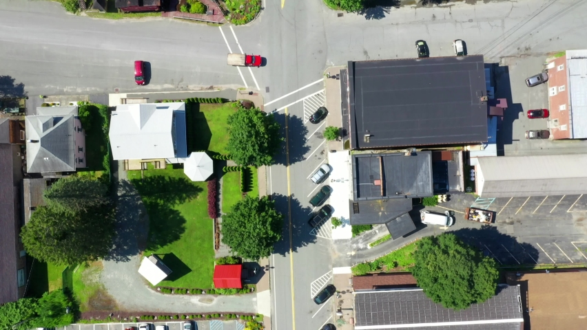 Bird's view of a small town in the Catskills. | Shutterstock HD Video #1058621776
