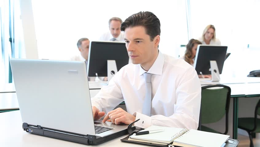 Salesman Working in Office with Stock Footage Video (100% Royalty-free)  1058626 | Shutterstock