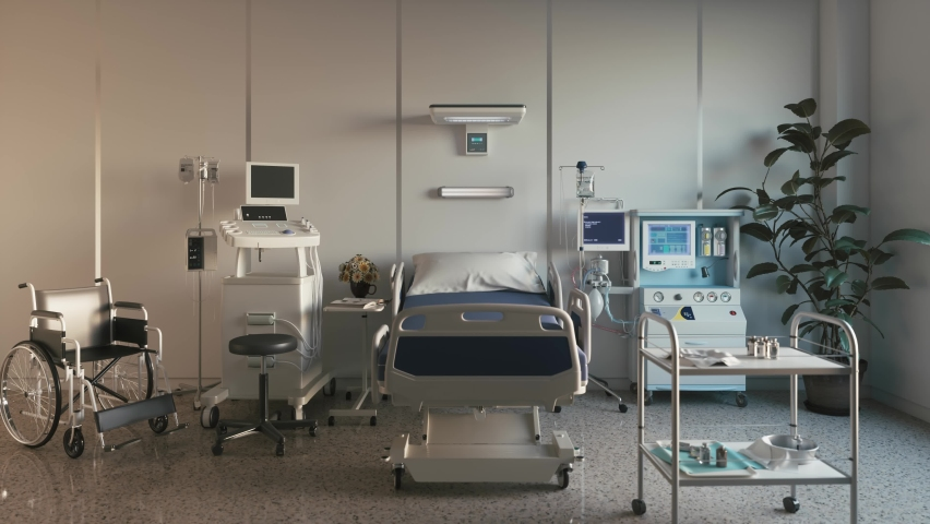 Empty bed in a hospital room with medical equipment. Royalty-Free Stock Footage #1058654959