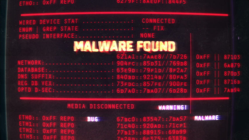 Malware found text on screen, computer hacking, data theft, scam, phishing. System warning, hacking attempt Royalty-Free Stock Footage #1058656444