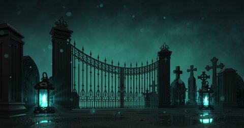 Cemetery entrance gate with shining lanterns around at dark scary night. Halloween holiday topic as seamless loop 4k video background.