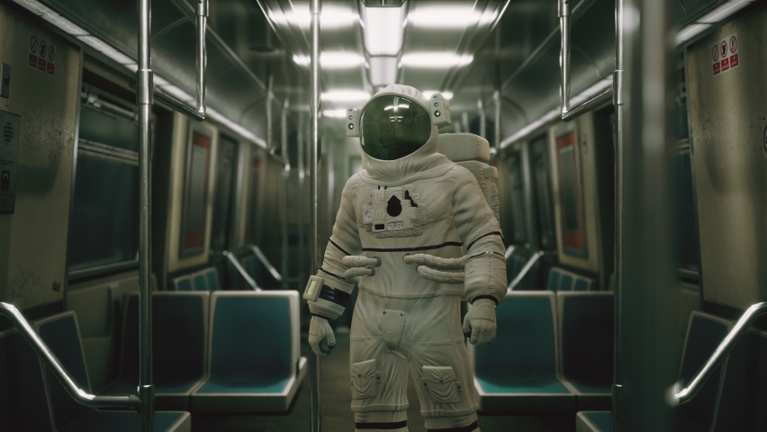 Astronaut Inside of the old non-modernized subway car in USA 3d Royalty-Free Stock Footage #1058667556