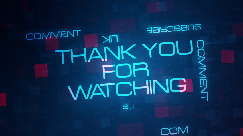 Thank You For Watching text typing motion animation on black background. 4K 3D for Science, Technology, Business presentation video cover title or trailer with please like comment and share message. Royalty-Free Stock Footage #1058667925
