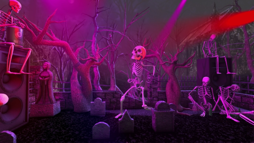 Seamless animation of a skeletons dancing in a cemetery disco at night. Funny halloween background for parties and events. | Shutterstock HD Video #1058670985