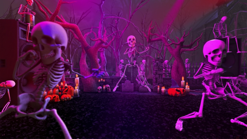 Seamless animation of a skeletons dancing in a cemetery disco at night. Funny halloween background for parties and events. | Shutterstock HD Video #1058670994