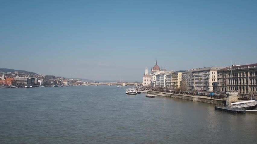 View of the Danube river and the city of Budapest | Shutterstock HD Video #1058675875