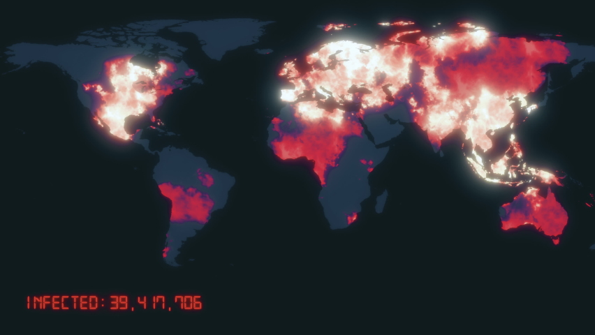 Animated global map showing confirmed covid-19 coronavirus cases spreading from infected Hubei province in China over the world. 3d rendering background 4K video with iconography and statistics. | Shutterstock HD Video #1058682853