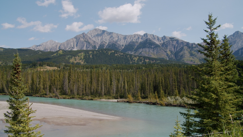 Beautiful Bow River Flowing though Banff National Park in Alberta Canada
