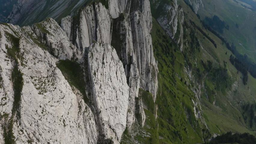 Aerial shot epic mountain ridge.