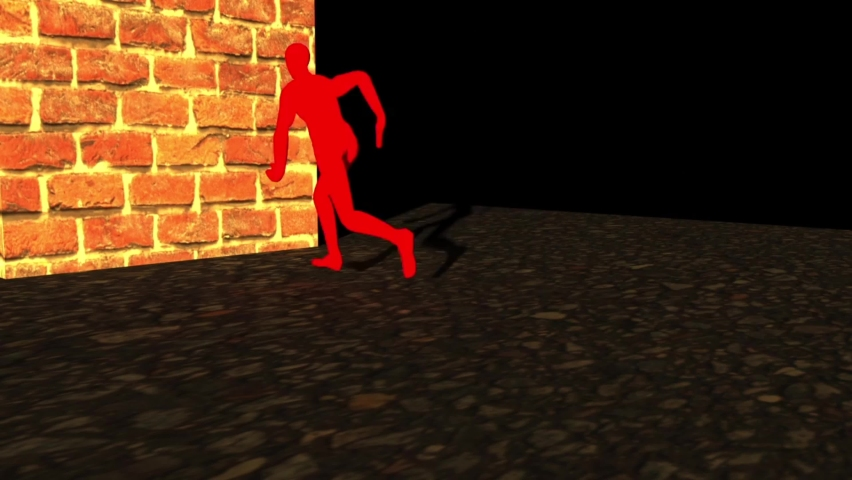 A man is running towards the bricks wall, and after hitting the wall, his body falls apart in broken pieces, shattered broken pieces of body, dynamic simulation,3D render, 3D animation of man  | Shutterstock HD Video #1058699761
