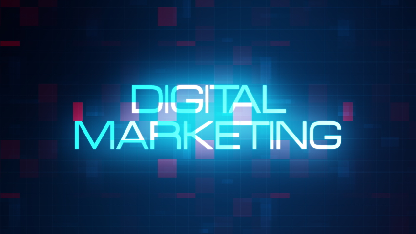 Digital Marketing word tag cloud text animation on modern futuristic digital technology blue and red grid background. 4K 3D rendering text concept for intro title, trailer, business presentation. Royalty-Free Stock Footage #1058701498