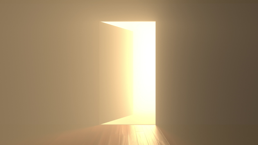 Door opening and bright light flowing into dark room. Can be used as illustration for hope and freedom, future and new beginning and other optimistic concepts Royalty-Free Stock Footage #1058701714