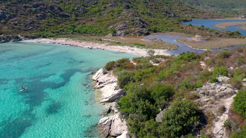 Aerial view on a beautiful beach in the north of Corsica, near Saint Florent.