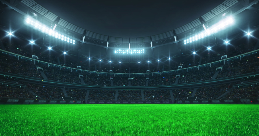Entrance tunnel leading to illuminated universal stadium with green grass and full of fans. Glowing stadium lights in 4k video background.