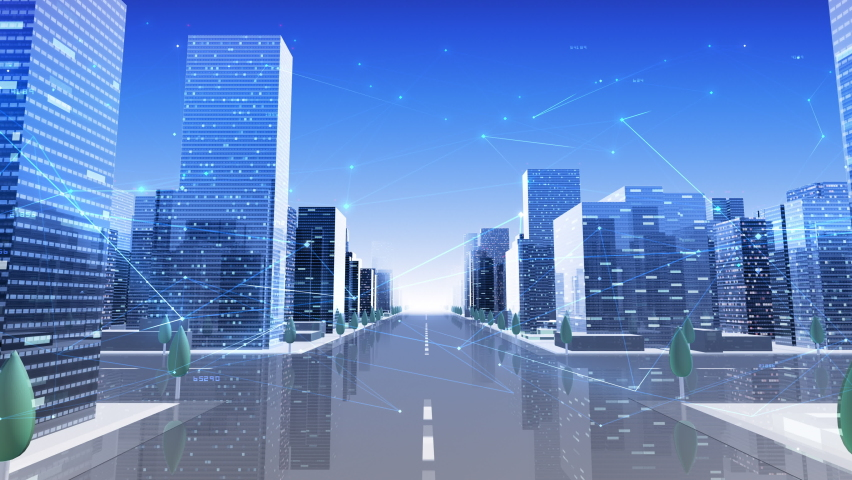 Digital City Network Building Technology Communication Data Business Background. Royalty-Free Stock Footage #1058754478