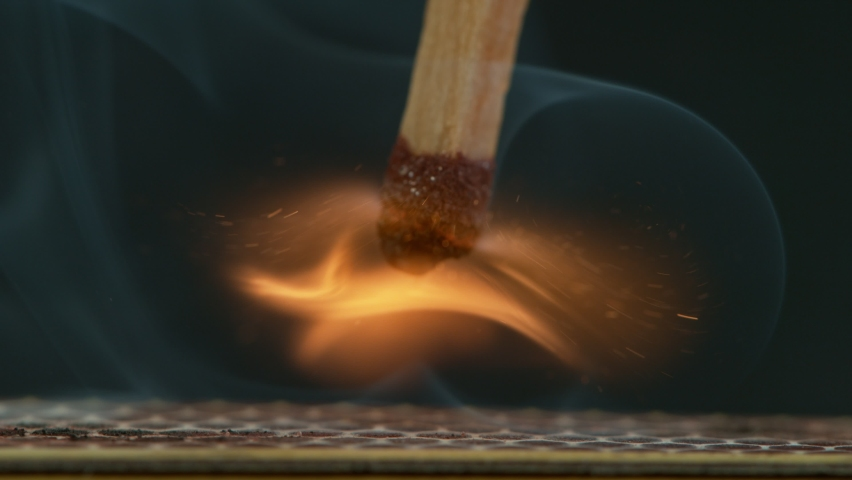 Super Slow Motion Macro Shot of Igniting Match against Black Background at 1000fps. | Shutterstock HD Video #1058759254