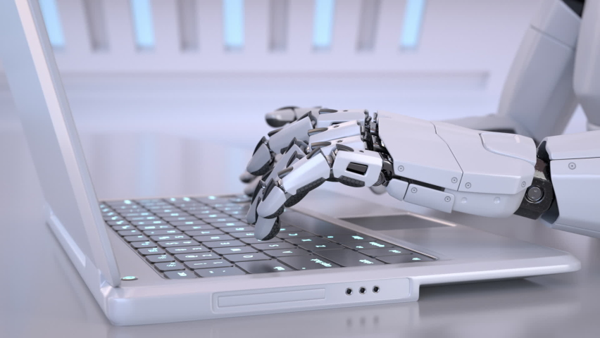 Robots hands typing on a laptop keyboard. 3D animation Royalty-Free Stock Footage #1058766676