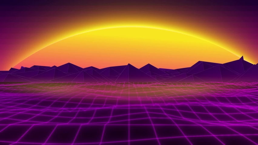 Synth wave retro vintage glowing particles loop animated background | Shutterstock HD Video #1058769562