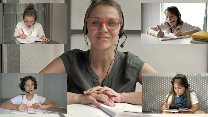Teacher leads a video lesson for four students. Features of distance learning. Back to school. | Shutterstock HD Video #1058771923