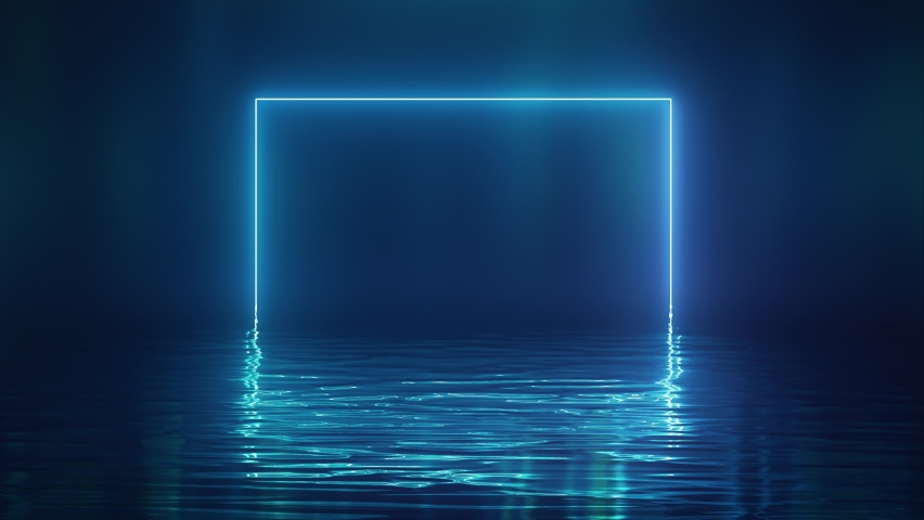 Shining blue neon square over water Royalty-Free Stock Footage #1058772748