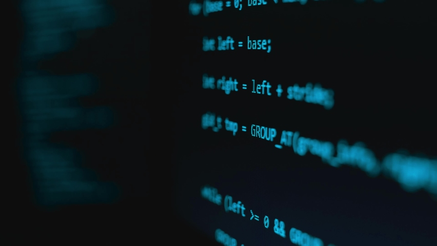 Modern tech. Program development and blockchain concept. Developer working on program codes in office. Shallow depth of field bokeh, selective focus effect. Hacking or protection data. Close up Royalty-Free Stock Footage #1058775769