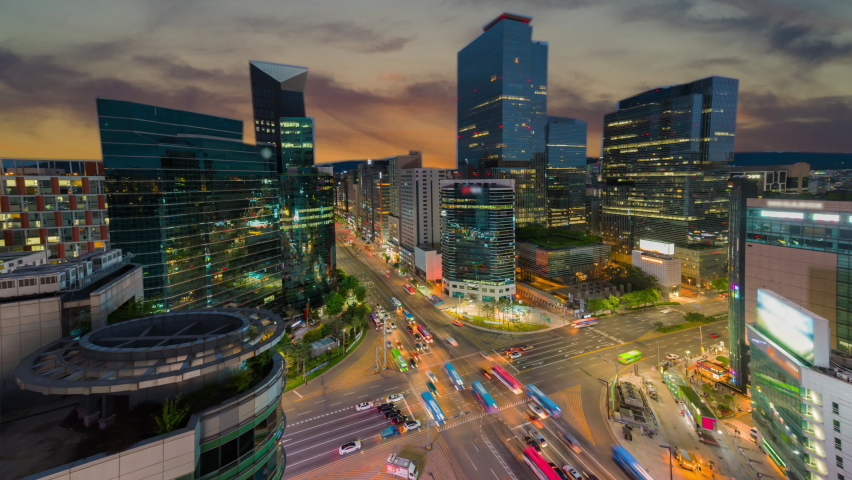 View traffic twilight of downtown at gangnam sqare in seoul city south korea Royalty-Free Stock Footage #1058791525