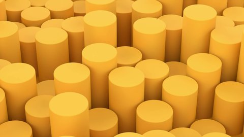 Abstract background composition with yellow tubes cylinders in perspective. Futuristic digital template with copy space. 3D animation of seamless loop. 4K UHD