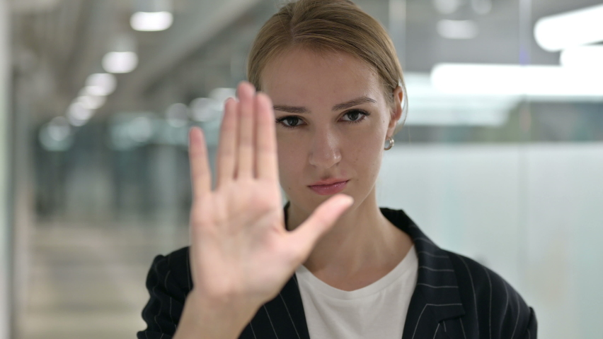 Portrait of Appreciative Businesswoman showing No Sign by Hand    Shutterstock HD Video #1058796562