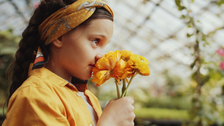 Selective focus shot of beautiful little girl smelling yellow flowers, looking at camera and smiling while standing in greenhouse farm Royalty-Free Stock Footage #1058797564