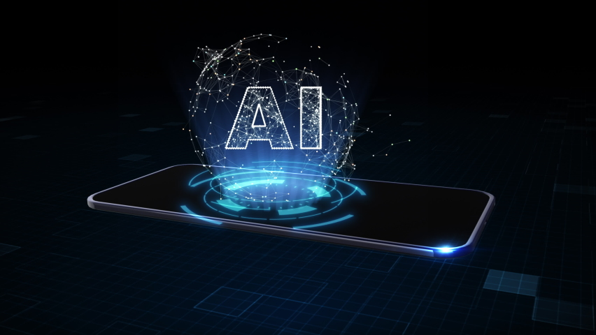 Smart Phone of 5g High Speed Internet Connection of Internet of things IOT,  Artificial Intelligence (AI), Data Mining Concept, Technology Digital Data Network Connection Concept. 3D rendering Royalty-Free Stock Footage #1058798125
