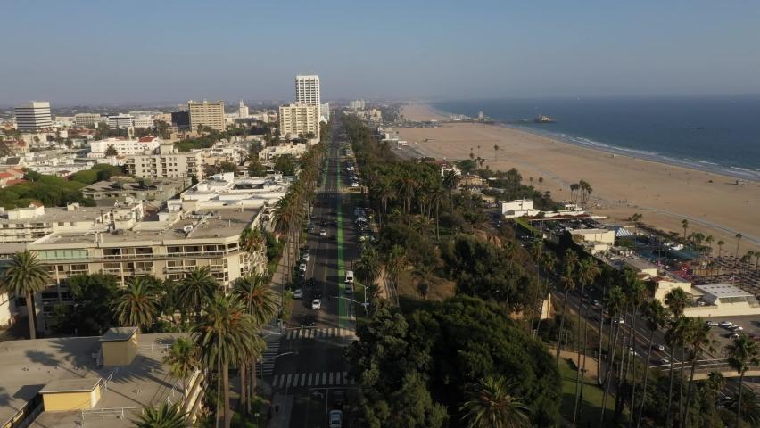 Santa Monica Beach Los Angeles Pier Pacific Park California Aerial 4K | Shutterstock HD Video #1058807926