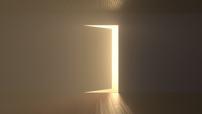 Door opens and a bright light flooding a dark room. Can be used as a concept of new innovations, future and hope, new beginning or a win of a fight for freedom Royalty-Free Stock Footage #1058820388