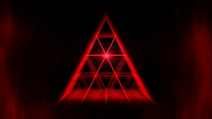 This stock motion graphics video shows a glowing red pyramid rotating on a black background. | Shutterstock HD Video #1058828140