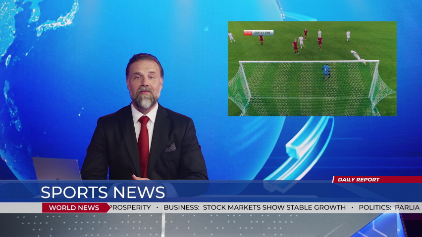 Live News Studio with Male Anchor Reporting Sports News on Soccer Game Score, Video Story Show Montage of Highlights of Two Teams Playing Football, Scoring Beautiful Goal. Mock-up TV Channel Newsroom