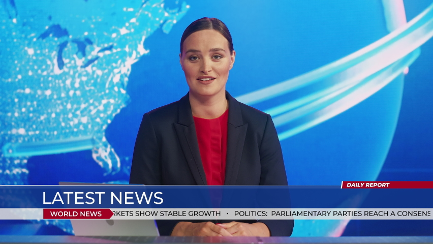 Live News Studio with Professional Female Anchor Reporting on the Events of the Day. Television Channel Newsroom with Newscaster Talking. Running Ticker Shows World, Business, Politics, Sports News | Shutterstock HD Video #1058828593