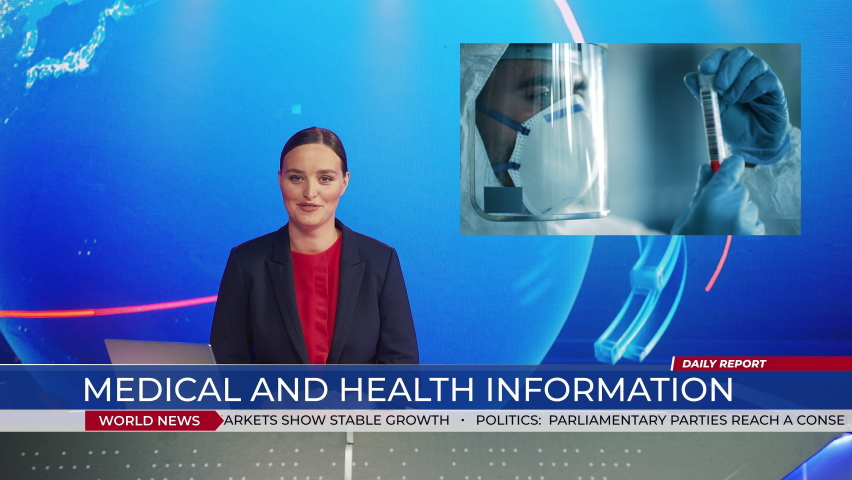 Live News Studio with Female Anchor Reporting on Covid-19 Virus Pandemic, Video Story Show Montage in Medical Research Laboratory Developing Vaccine Medicine, doing Tests. Mock-up TV Channel Newsroom | Shutterstock HD Video #1058828626