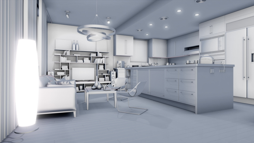 Transforming a stylized home into an office. 3D render | Shutterstock HD Video #1058832064
