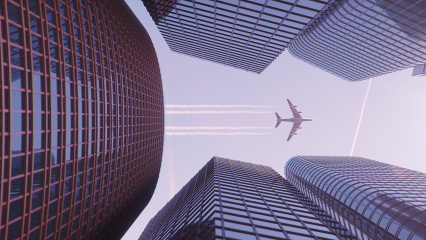Airplane flight over the business center of skyscrapers. Bottom view of skyscrapers with a flying plane at sunset in the evening, business district. Success business concept. 3D animation 4k UHD Royalty-Free Stock Footage #1058834449