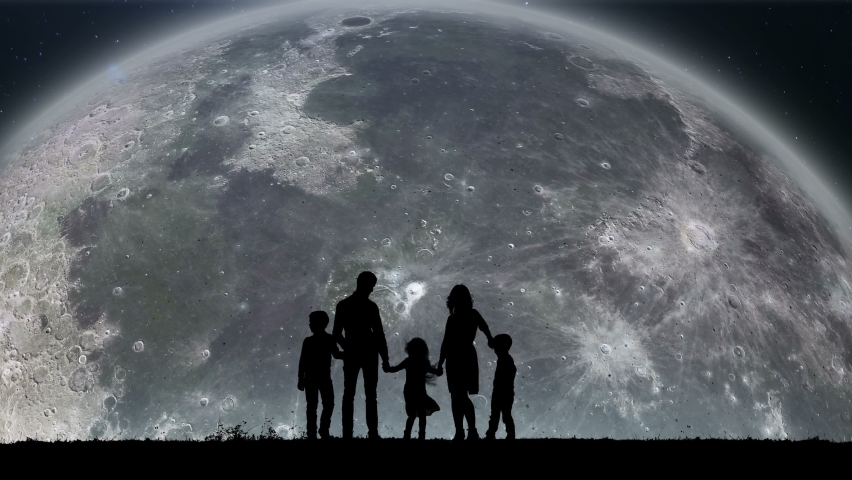 A Silhouette of a Family Watching on the Slowly Spinning Moon Around of the Earth. Flight Into the Infinite Universe. The Travel of Satellite of Earth. Moon Rising Over the Horizon on Sky Up.