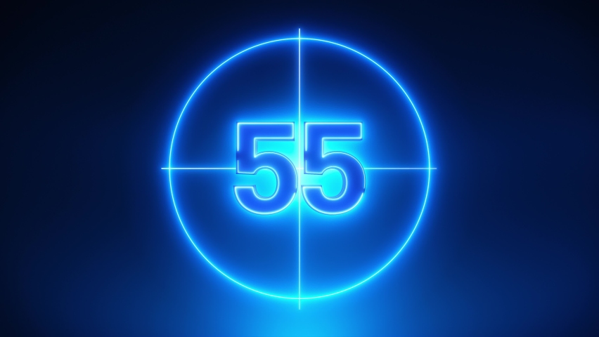 Blue Neon Light 60 Seconds Countdown on black background. Running dynamic light. Timer from 60 to 0 seconds. 1 minute countdown. 30 or 10 seconds. Big 3D Numbers animated for intros. Circle rotating Royalty-Free Stock Footage #1058842357